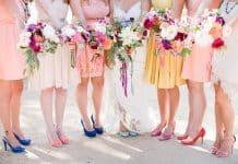 Une mariée et ses demoiselles d'honneur